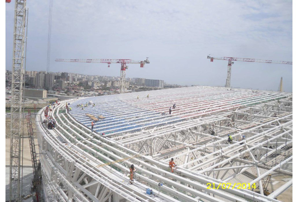 BAKU OLIYMPIC STADIUM ETFE ROOF AND FACADE CLADDING SUBFRAMES (2014)